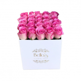 25 Pink Roses In White Hat Box