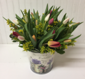 25 Tulips in Floral Tin