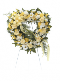 """25"""" YELLOW/WHITE OPEN HEART ON A 5'-6"""" STAND CALL IN 562/947-6199 TO CHANGE COLOR PALLET"""