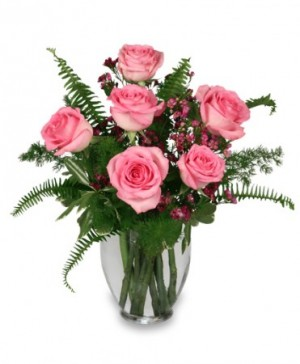 BLUSHING ROSES Arrangement in Cary, NC | GCG FLOWERS & PLANT DESIGN