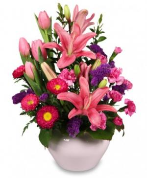 PINKS IN BLOOM  Spring Flower Arrangement in Crawford, GA | BUDS 'N BOWS FLOWER SHOP
