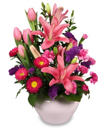PINKS IN BLOOM  Spring Flower Arrangement