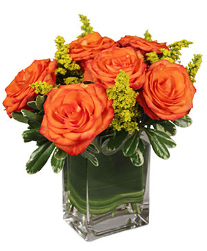 Orange and Gold Floral Arrangement in Canon City, CO | TOUCH OF LOVE FLORIST AND WEDDINGS