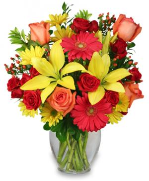 Bring On The Happy Vase of Flowers in Saint John, IN | SAINT JOHN FLORIST