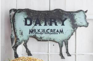 "27"" LONG TIN DAIRY COW SIGN GIFTS"