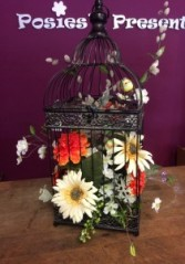 "27"" Tall Silk Arrangement in Metal Bird Cage  Gift"