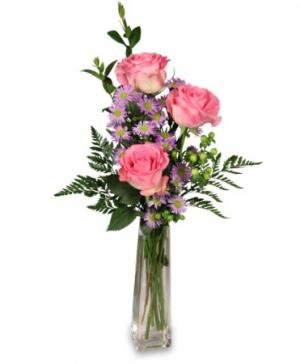 Three's A Charm Pink Rose Bud Vase in Lawrenceburg, KY | CINNAMON'S FLOWERS & GIFTS