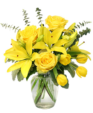 Sunshine of Spring Vase Arrangement  in Calgary, AB | LUXE FLORIST