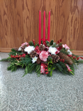 3 Candle Christmas Centerpiece Red & White Christmas Centerpiece
