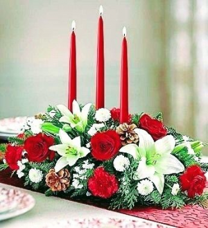 3-candle Elegance Christmas Centerpiece in Albuquerque, NM | MELBA'S FLOWERS