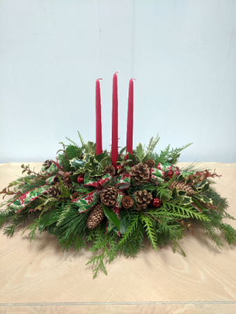 3 Candle Evergreen Centerpiece Christmas Centerpiece