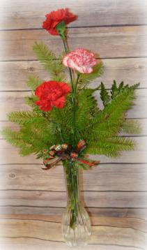 3 Carnation Christmas Bud Vase