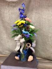 3 carnations with moose Vase arrangement