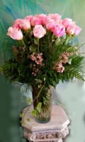 3 Dozen Pink Roses In Vase