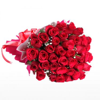 3 Dozen Wrapped Red Roses