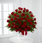 3 dz red roses in a basket