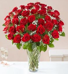 3 dz red roses long stems