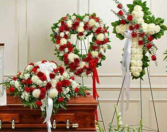 3-PC CASKET, OPEN HEART AND CROSS PACKAGE CALL IN 562/947-6199 TO CHANGE COLOR OF ROSES
