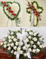 3 PC FAREWELL PACKAGE SOLID HEART, CROSS, AND ROSE CASKET SPRAY