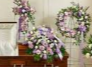 3 PC LAVENDER AND WHITE PACKAGE CROSS, CASKET, AND WREATH