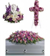 "3 PC "" PEACEFUL "" PACKAGE FOREVER ANGEL BOUQUET, CROSS AND CASKET SPRAY"