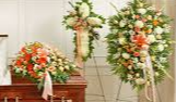 3 PC PEACH AND WHITE FUNERAL PACKAGE CASKET, CROSS, AND STANDING SPRAY