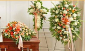 3 PC PEACH/WHITE FUNERAL PACKAGE CASKET, CROSS, AND STANDING SPRAY