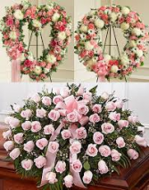 3 PC PINK FUNERAL PACKAGE  OPEN HEART, WREATH, AND CASKET SPRAY