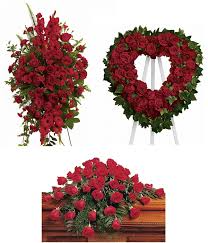 3 PC RED TRIO PACKAGE STANDING SPRAY, OPEN HEART, AND CASKET SPRAY