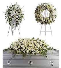3 PC WHITE FUNERAL PACKAGE STANDING SPRAY, WREATH AND 3/4 CASKET SPRAY