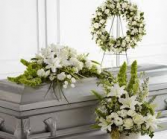 3 PC WHITE PURITY FUNERAL PACKAGE CASKET, WREATH, AND LARGE FLOOR/PEDESTAL ARRANGEMENT