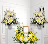 3 PC YELLOW AND WHITE MEMORIAL PACKAGE 2-PEDESTAL ARRANGEMENTS AND LARGE URN/PHOTO PC