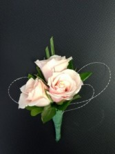 3 Pink and Wire Boutonniere