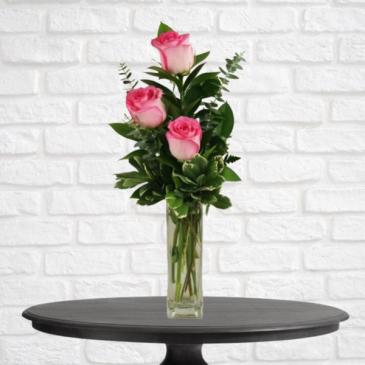 3 Pink Rose Bud Vase
