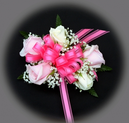3 pink roses 2 white roses wrist corsage in akron pa roxannes 3 pink roses 2 white roses wrist corsage mightylinksfo
