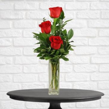 3 Red Rose Bud Vase