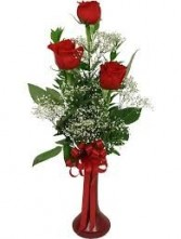 3 Red Rose Bud Vase *Red Vase*