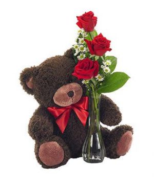 3 red rose budvase with bear  in Whitehall, PA | PRECIOUS PETALS FLORIST