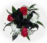 3 red Roses 2white carns black bow Wrist Corsage