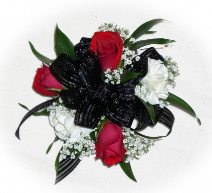 3 Red Roses 2white Carns Black Bow Wrist Corsage In Akron Pa