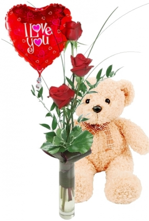 3 RED ROSES GIFT SET