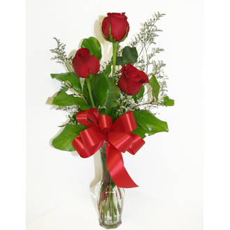 3 red roses rose