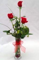 3 Red Roses Vase  Arrangement