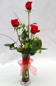 3 Red Roses Vase  Arrangement in Milwaukie, OR | Mary Jean's Flowers by Poppies & Paisley