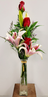3 Red Roses With Stargazer Lilies