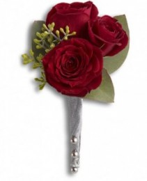 3 Red Spray Rose Boutonniere Boutonniere