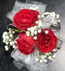 3 Red Spray Rose Wristlet Corsage