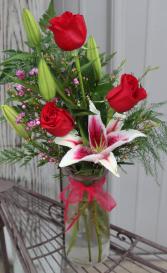 3 Rose and Lily Vase Rose Arrangement