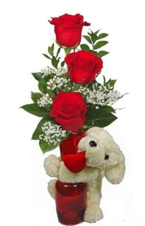 3 Rose Vase w/ Hugger