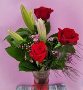 3 Rose Premium w/ Stargazer Lilies Rose Arrangement